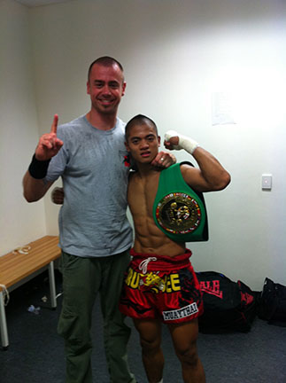 2 Matt With His Australian WBC Superfeatherweight Champ Bryan Hasse