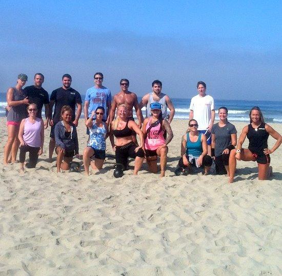David Leddick and Group Kettlebell Class on the Beach