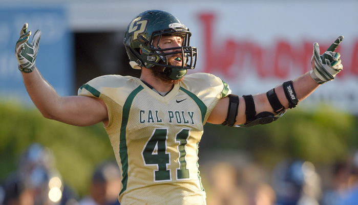 Cal Poly Dzubnar #41 On  the football field