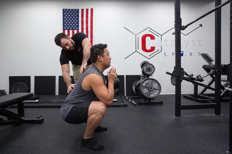 Jason Kapnick Coaching Goblet Squat at Catalyst SPORT