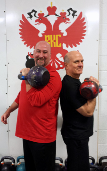 John Kalil and Mike Krivka with kettlebells