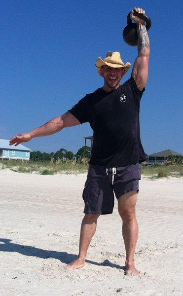 RKC Instructor, Keith Veri Kettlebell Press at the Beach