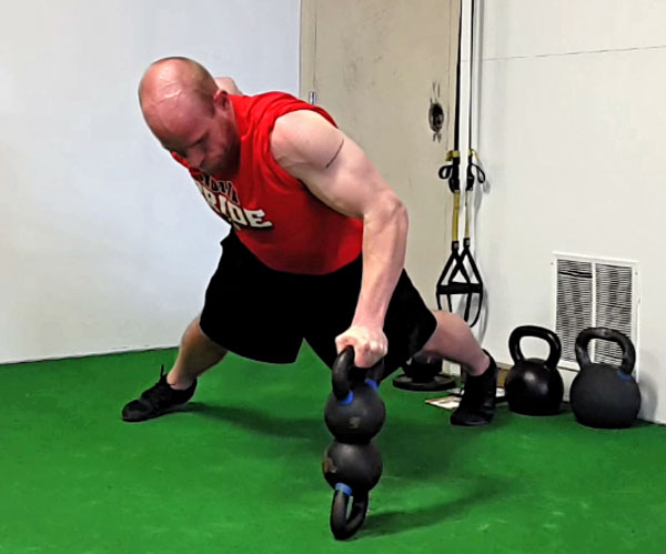 Levi Markwardt One-Arm Double Kettlebell Balance Push-up