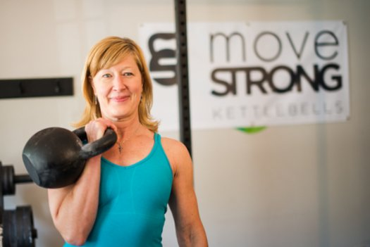 RKC Team leader Lori Crock with a heavy kettlebell