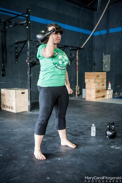 Maggie Fazei Fard Kettlebell Press at RKC Workshop