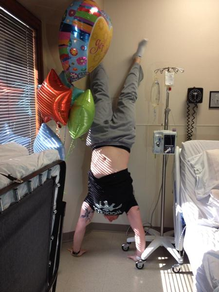 Anthony Moro In Hospital Doing Handstand Push Ups
