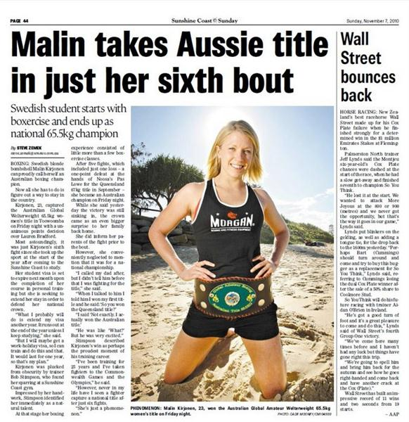 Malin Kirjonen Boxing Title News Clipping from Australia