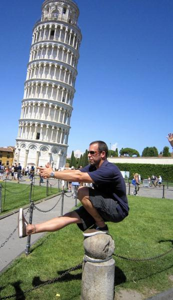 Peter D'Epiro Pistol Squat at Leaning Tower of Pisa