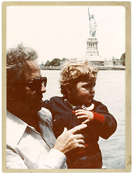 Grandfather Saba and Zach Even-Esh at the Statue of Liberty