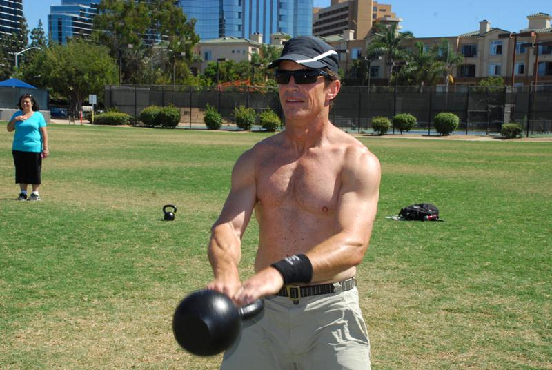Tom Davin during the Grad Workout at the San Diego RKC August 2012 - kettlebell swing