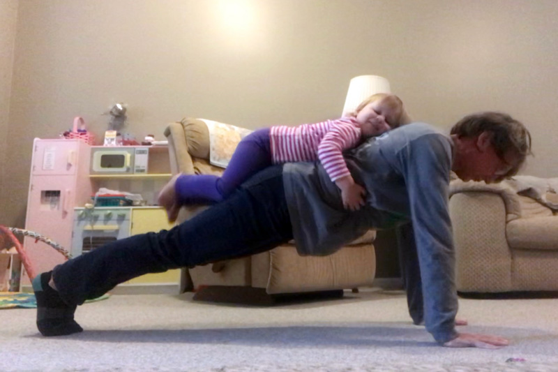 Mary Surprenant Pushups With Grandchild