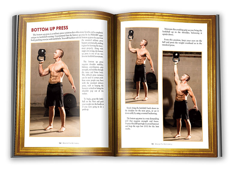 Inside pages of Master The Kettlebell: bottom's up kettlebell press