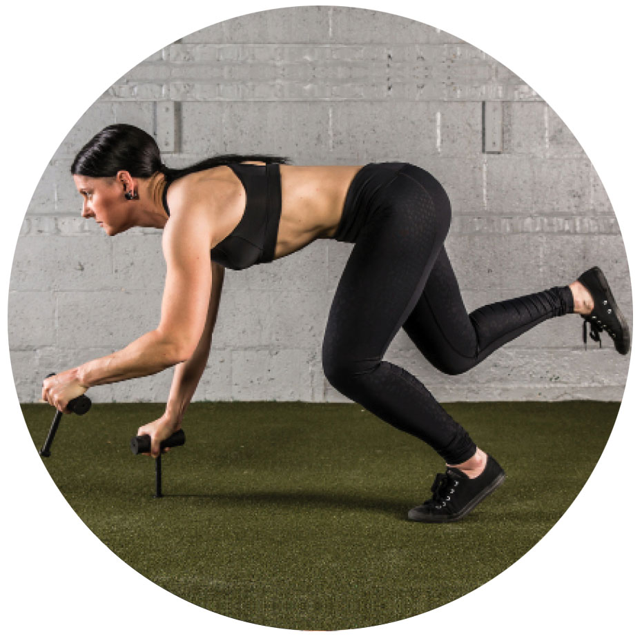 woman performing bear crawl exercise with Neuro-Grips push-up handles