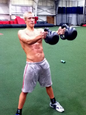 Ohio State Mens Swimming Athlete Double Kettlebell