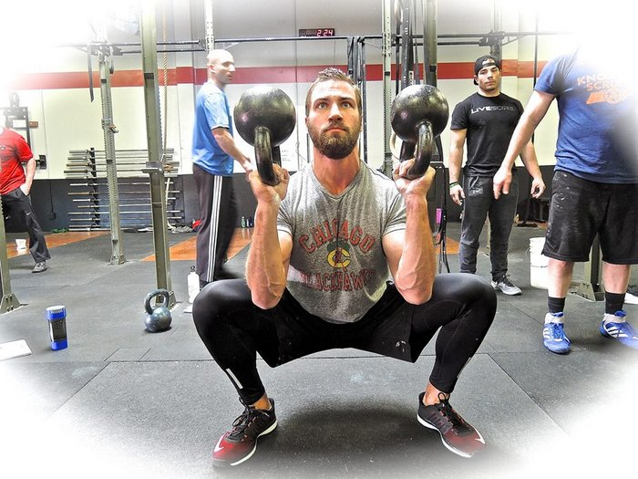Paul At RKC Double Kettlebell BUP Squat
