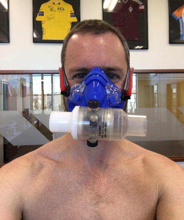 Scott Carney wearing mask for testing at the CU Sports Medicine and Performance Center