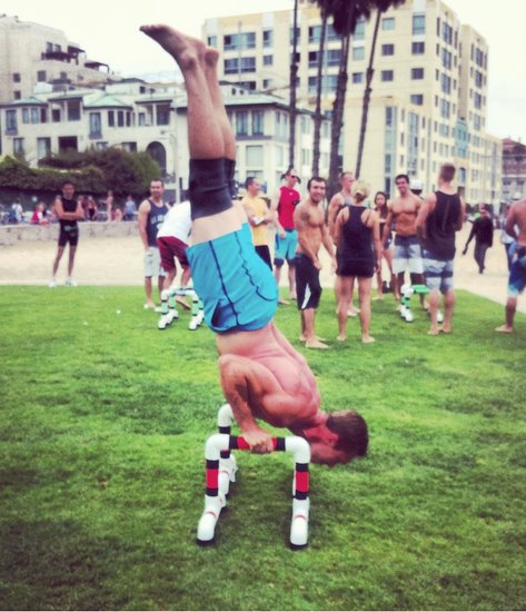 Tanner Martty Handstand Pushups At Muscle Beach Santa Monica