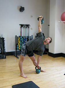 Double Kettlebell Windmill, bottom
