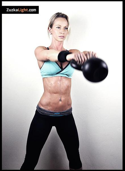 Zuzka Light Swings a Dragon Door Kettlebell