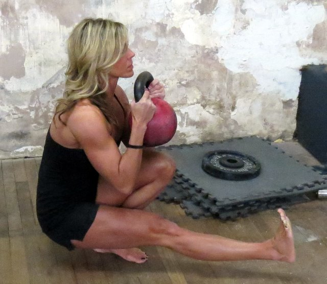 Senior RKC Beth Andrews Demonstrates a Pistol with a 24kg kettlebell